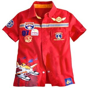 Boys Planes Fire & Rescue Woven Top - NWOT